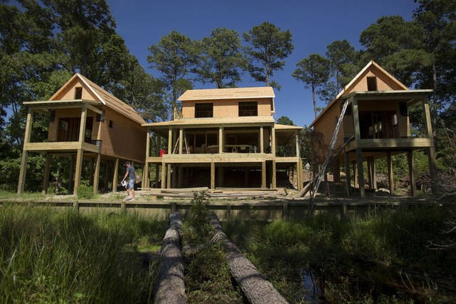 The WIE Village under construction, to include equal deck to living space! Builder, Steve Owens, with Outer Banks Renovations & Construction pictured here!